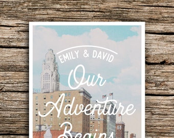 Columbus Ohio Save the Date Postcard // Ohio Wedding Save the Dates Adventure Postcards Downtown City Short North German Village Unique