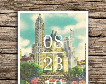 Central Park Save the Date Postcard // New York City Save the Dates Vintage Manhattan Skyline Fun Unique Wedding Invitations NYC