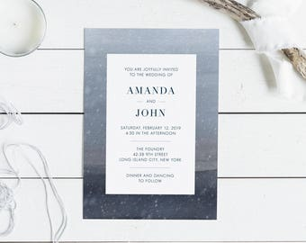 Winter Grays Wedding Invitation Suite // Watercolor Winter Wedding Invitations Snow Minimalist Invitations Grey Blue Simple Modern
