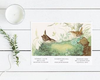 Forest Birds Wedding Invitation Set // Modern Bird Wedding Invitations Woodland Woodsy Minimalist Green Brown Botanical Wren Moss Audubon