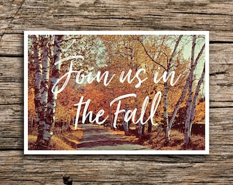 rustic signpost save the date postcard fall wedding autumn etsy