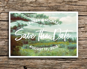 Carmel Wedding Save the Date Postcard // Destination Wedding Monterey Save the Dates Coastal Invitation Coast Trees Vintage Card
