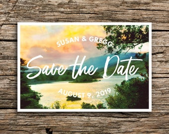 Summer Lake Postcard Save the Dates // Lakeside Save the Date Postcards Bohemian Boho Sunset Outdoorsy Script Wedding Post Cards Casual