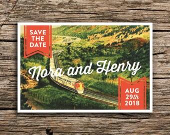 Vintage Train Save the Date Postcard // Santa Fe Wedding Arizona New Mexico Railroad San Diego Wedding Invitation Unique Rustic Cards