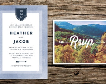 Autumn Mountains Wedding Invitation & Vintage RSVP // Tennessee Wedding Mountain Wedding Fall Wedding Mountain Crest Autumn Gold Rustic