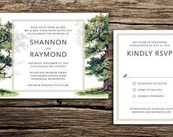 Under the Oaks Wedding Invitation // Modern Oak Trees Invitation Wedding Under the Trees Woodland Woodsy Minimal Green Brown Botanical Tree