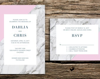 Modern Marble Wedding Invitation Set // Modern Wedding Invitations Geometric Minimalist Geo Natural Grey Gray Pink Carrera Fine Art