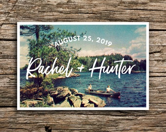 Canoeing Couple Save the Date Postcard // Lake Wedding Postcard Save the Dates Post Cards Casual Outdoors Vintage Camp Wedding Lakeside Boat
