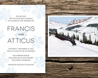 Snow Mountain Wedding Invitation Suite // Mountain Wedding Invitations Snowy Winter Vintage Invites Train Snow Colorado Light Blue Modern