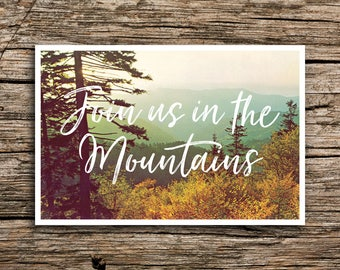Smoky Mountains Save the Date Postcard // Mountain Wedding Appalachian Mountains Tennessee North Carolina Wedding Vintage Postcard Cards