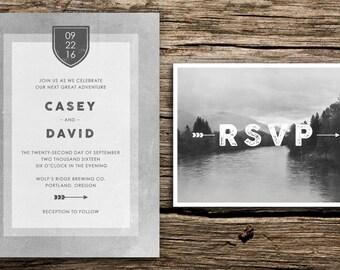 Grey Mountain Wedding Invitation & Postcard RSVP // Seattle Wedding Oregon Wedding Washington Colorado Wedding Mountain Wedding Crest