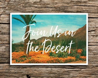 Orange Desert Postcard Save the Dates // Wedding Join Us in the Desert Save the Date Postcards Tucson Phoenix Arizona Cactus Post Cards