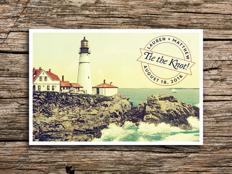 84bea3b5cbf01 Vintage Lighthouse Save the Date Postcard // New England Save | Etsy