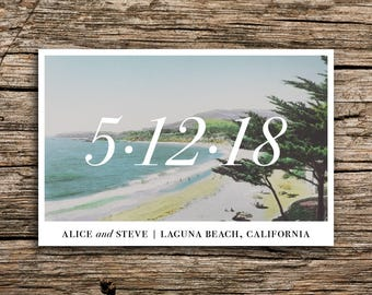 Laguna Beach Save the Date Postcard // Beach Cove Wind Save the Date Beach Wedding Save the Date California Postcard Wedding Minimalist