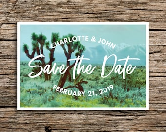 Joshua Tree Save the Date Postcard // Southern California Save the Dates Bohemian Wedding Invitation Desert Vintage Cactus California Cards