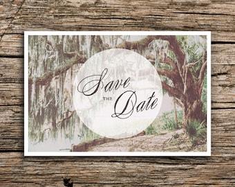 Live Oaks Save the Date Postcard // Southern Wedding Live Oak Trees Savannah Wedding Invitation Florida Carolina Postcards Antique Sage