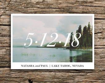 Minimalist Lake Postcard Save the Date // Modern Lake Save the Dates Postcards Lake Tahoe Pine Trees Wedding Post Cards Designer Custom