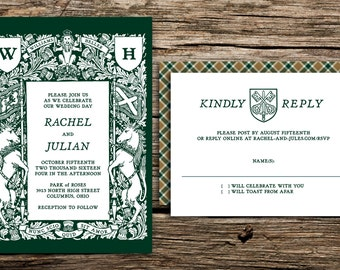 Crest and Tartan Wedding Invitation Set // Scottish Wedding Invites Rustic Crest Forest Green Wedding Invitations Unicorns Medieval