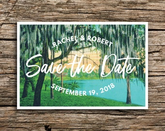 Spanish Moss Save the Date Postcard // Destination Wedding Save the Dates Live Oak Trees Postcard Florida Louisiana Carolina Vintage