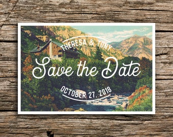 Mountain Cabin Save the Date Vintage Postcard // Utah Wedding Lodge Save the Dates Outdoorsy Postcards Rustic Ski Ogden Salt Lake City