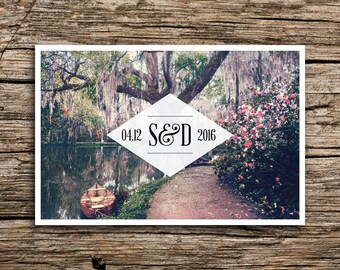 Southern Gardens Postcard Save the Date // Vintage Charleston Wedding Invitation Spring Save Date Flowers Floral Post Card Southern Wedding