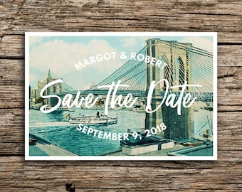Brooklyn Bridge Wedding Save the Date Postcard // New York City Save the Dates Vintage Manhattan Destination Wedding Cards Digital Printed