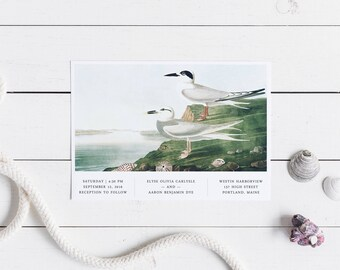 Sea Birds Wedding Invitation Set // Modern Bird Wedding Invitations Seaside Tern New England Harbor Beach Coastal Wedding Minimalist Audubon