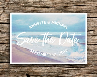 Blue Waves Save the Date Postcard // Destination Wedding Save the Dates Beach Sand Invitation Waves North Carolina South Carolina New Jersey