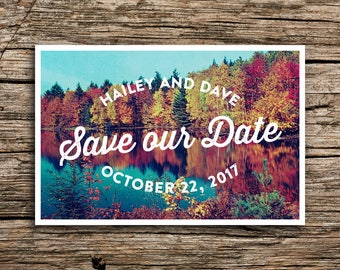 Autumn Trees Save the Date Postcard // Fall Save the Date Retro Wedding Invitation Vintage Autumn Wedding Colorful Fall Wedding October