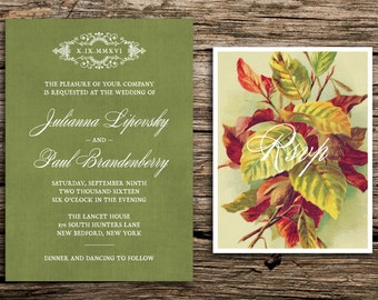 Autumn Leaves Wedding Invitation Set // Rustic Wedding Invitations Vintage Antique Green Trees Copper Fall Autumn Romantic Cards
