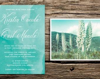 Desert Flowers Wedding Invitation Set // Desert Wedding Invitations Baja California Sur Wedding Mexico SoCal Modern Watercolor Boho Yucca