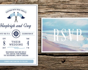 Coastal Wedding Invitation and Postcard RSVP // Beach Wedding Invitation Light Blue Navy Blue Nautical Coastal Wedding Invitations Cards