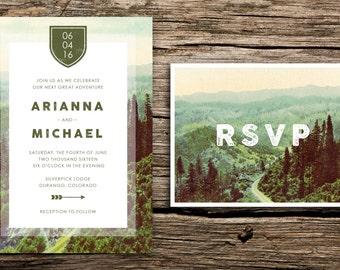Mountain Road Wedding Invitation & Vintage RSVP // Oregon Washington Colorado Mountains Premium Custom Envelopes Cards Unique Picturesque