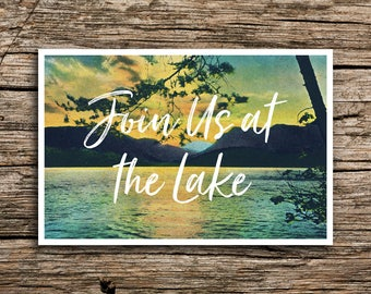 At the Lake Postcard Save the Date // Join Us at the Lake Save the Dates Postcards Adventure Boho Sunset Outdoors Script Post Cards Paper