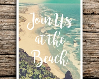At the Beach Wedding Save the Date Postcard // Destination Boho Wedding Beach Save the Date Beach Invitation Coast Waves Chic Vintage Card