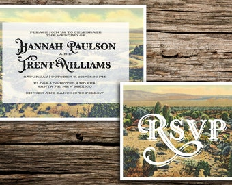 Western Desert Wedding Invitation Set // Arizona New Mexico Cactus Mountains Retro Ranch Santa Fe Wedding RSVP Cards Digital Casual Vintage