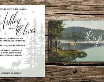 Enchanted Forest Wedding Invitation and Postcard RSVP // Woodland Invitation Forest Wedding Outdoorsy Wedding Deer Trees Night Whimsical Whi