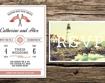 Vintage Lighthouse Wedding Invitation and Postcard RSVP // New England Wedding Invitation Cape Cod Invitation Preppy Postcard Lighthouse