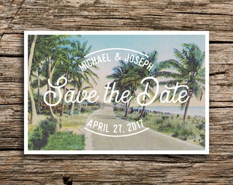 Palm Beach Drive Save the Date Postcard // Destination Wedding Save the Dates Beach Postcard Florida New Orleans Everglades Vintage Miami