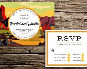 Desert Paint by Number Wedding Invitation // Arizona Wedding Invitations Desert Mountains Mid Century Red Rocks Sedona Wedding Invitations