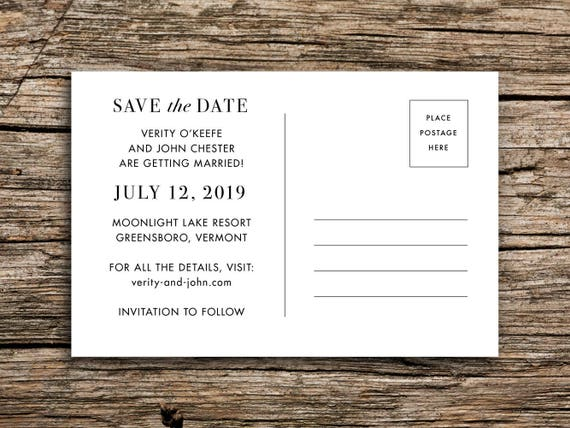 Vintage Lake Save the Date Postcard  Vermont Wedding Outdoor Save the Date Boat Canoe Wedding New Hampshire New York Minnesota Wisconsin