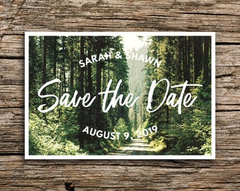 Woodland Postcard Save the Date // Woodsy Wedding Woodland Save the Date Pine Trees Vintage Postcard Save the Dates Post Cards Northwest