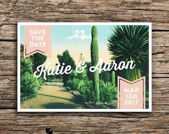 Cactus Garden Postcard Save the Date // Wedding Invitation PInk Cactus Succulent Arizona New Mexico Postcards Desert Rustic Vintage Fun