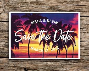 Tropical Sunset Save the Date Postcards // Tropical Wedding Save the Dates Palm Postcard Sunset Beach Florida Mexico California Hawaii