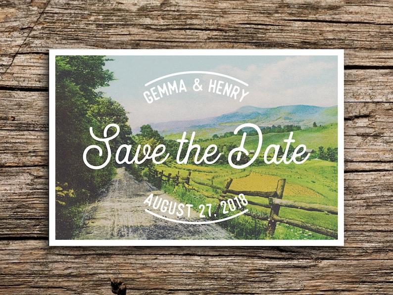 Farm Road Save the Date Postcard  Farm Wedding Save the Dates Post Cards Midwest Wedding Pennsylvania Illinois Wisconsin Country Unique