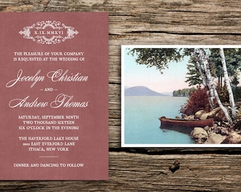 Lakeside Wedding Invitation Set // Marsala Wedding Invitations Vintage RSVP Wedding Invites New York Michigan Vermont Lake Catskills Cards