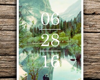 Yosemite Save the Date Postcard // Yosemite National Park Wedding Save the Dates California Postcard Minimalist Vintage Scenic Factory Made