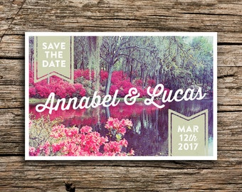 Carolina Gardens Postcard Save the Dates // Florida South Carolina Save the Dates Spring Save Date Flowers Post Card Southern Wedding Pink