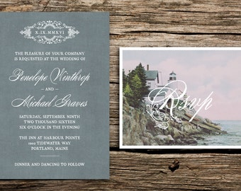 Antique Lighthouse Wedding Invitation Set // Maine Wedding Invitations Vintage RSVP Wedding Invites Gray Grey New England Nautical Elegant