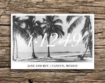 Minimalist Beach Save the Date Postcard // Destination Wedding Save the Date Tropical Save the Date Palms Postcard Mexico Florida California